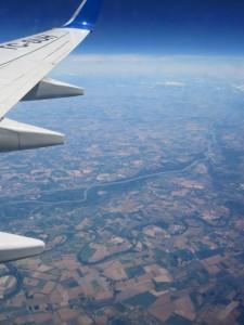 Auf dem Flug nach Düsseldorf: unter uns die Donau